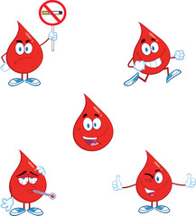 Blood Drop Cartoon Mascot Characters  Set Collection 7