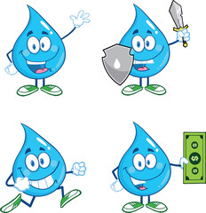Water Drop Cartoon Mascot Characters  Set Collection 2