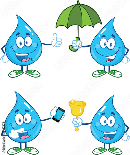 Water Drop Cartoon Mascot Characters  Set Collection 1