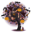 Halloween tree with white ghost