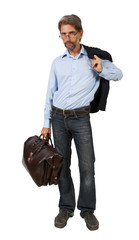 man with a suitcase isolated