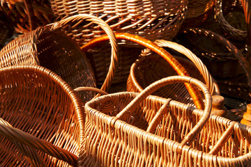fragments of empty wicker basket