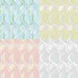 Vector seamless backgrounds with flowers and waves
