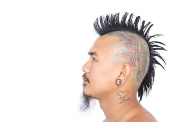 punk's head with mohawk hair isolated on white background
