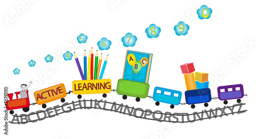 Active learning for preschool kids colorful train