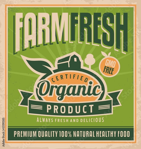 Retro farm fresh food concept
