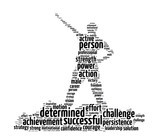 Words illustration of a determined person in white background poster