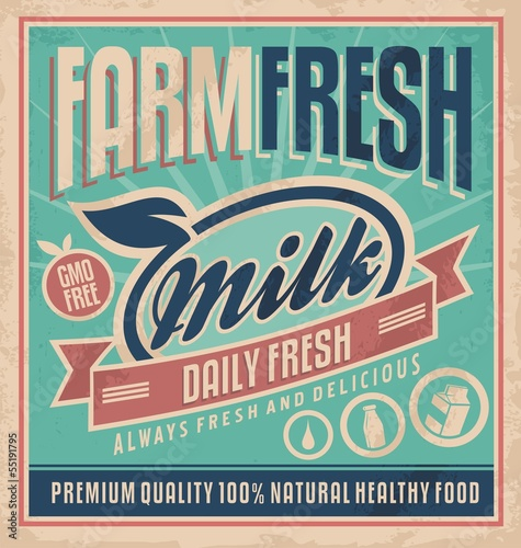 Retro farm fresh milk concept