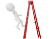 3d humanoid character falling from a ladder