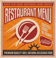 Retro poster template for fast food restaurant