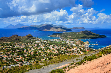 Landscape view of Lipari islands in Sicily, Italy
