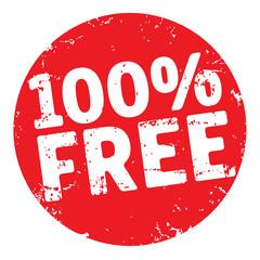 Grunge Button rund rot 100%free