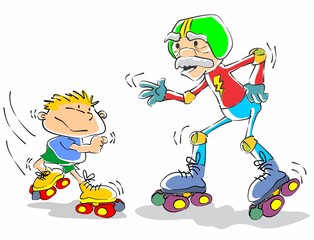 Grandfather and grandson on roller skates
