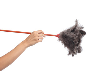 Woman hand holding a duster clean