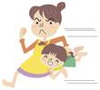 娘を持ち運ぶ母親