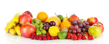 Different fruits isolated on white