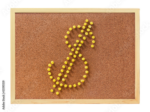 Plastic pins in U.S. dollar shape