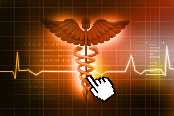3d medical logo on a abstract heart  background