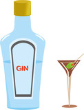 Gin Bottle and dry Gin Martini glass with Olive