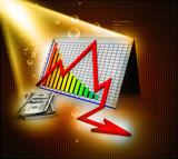 3D business decline graph and dollar  abstract background