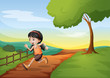 A girl running hurriedly at the hill