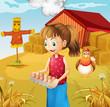 A woman harvesting eggs
