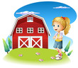 A girl in front of the red barnhouse in the hilltop