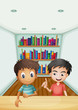 Two boys in front of the bookshelves with books