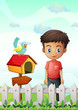 A boy near the pethouse with a bird and a wooden arrowboard
