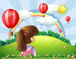 A young lady watching the floating balloons and rainbow