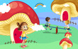 Kids playing near the giant mushroom houses