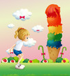 A girl in a jumping position near the giant icecream