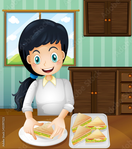 A lady preparing sandwiches