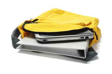 Laptop And File In Yellow Backpack