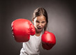 Leinwandbild Motiv little girl boxer