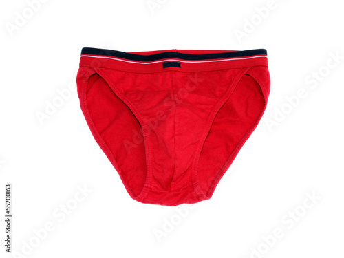 Red men's underwear (thongs) on a white background
