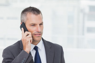 Concentrated businessman posing while having a phone call
