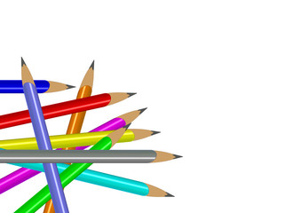 dağınık renkli kalemler