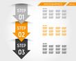three orange infographic arrows