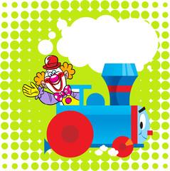 Cartoon locomotive with a clown