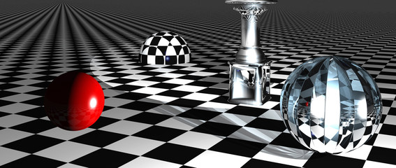 Checkered  art composition  made in 3d software