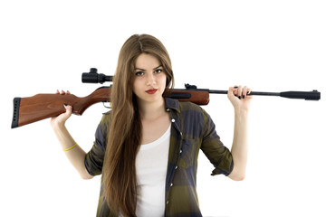 Beautiful Cowgirl with a gun on a white background.