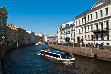 Boats on Saint Petersburg canals