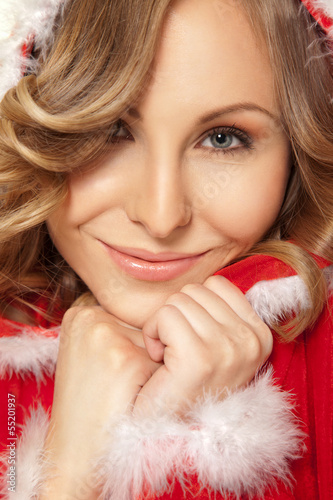 woman cuddle Christmas costume