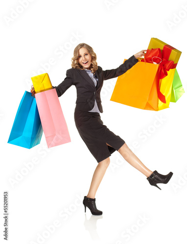 excited woman happy shopping presents