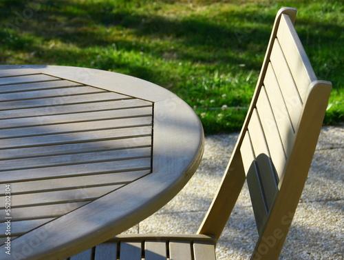 table et chaise de jardin en bois - 55202304