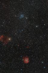 Nebulose e ammassi di stelle nel cielo notturno