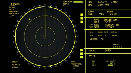 Radar background of an incoming aircraft HD 1080