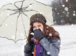 girl with handkerchief in snowfall