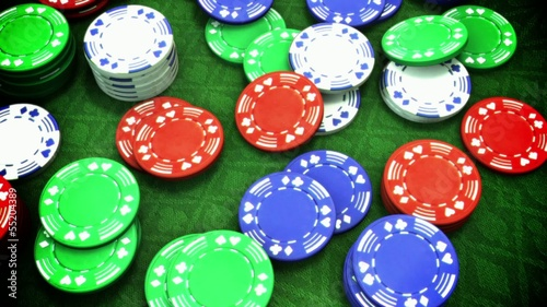 Gambeling cards and poker chips looping animation
